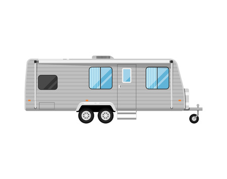 Car RV trailer isolated on white icon. Mobile home for country and nature vacation. Side view recreational vehicle van vector illustration in flat syle.