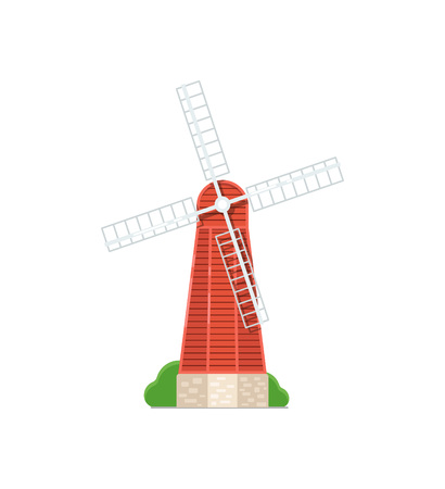 Old windmill building on white icon. Rural bakery shop, organic agricultural production, ecological food manufacturing vector illustration.