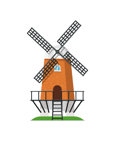 Ancient wooden windmill building on white icon. Rural bakery shop, organic agricultural production, ecological food manufacturing vector illustration.