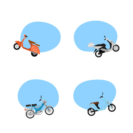 Vintage and modern scooters advertising tags. Old style motorbike, city motorcycle, trendy electric bike, delivery moped. Personal transport vehicle collection isolated vector illustration.