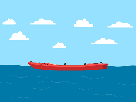 Plastic red kayak on seascape with blue sky and clouds banner. Rafting, kayaking, paddling and canoeing activity. Extreme water sport, relaxation on river, adventure by boat vector illustration.