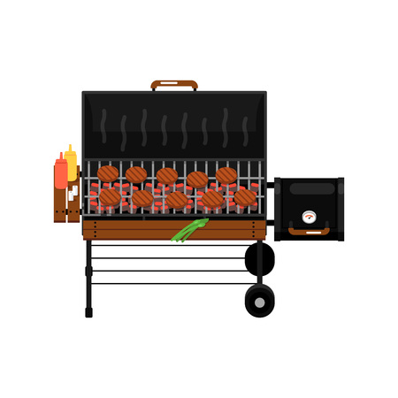 Barbecue gas grill with grilled burgers isolated icon. Outdoor cooking equipment with assorted delicious food vector illustration. BBQ restaurant menu elements. Ilustração