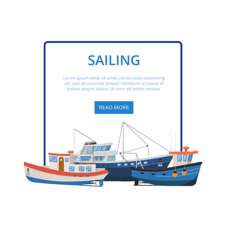 Sailing poster with group of fishing boats. Commercial fishing trawlers for industrial seafood production vector illustration. Vintage marine fleet of ships, sea or ocean nautical transportation