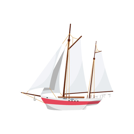 Ocean sailboat isolated on white icon. Side view yacht, vintage marine cruise ship, sea vessel vector illustration.