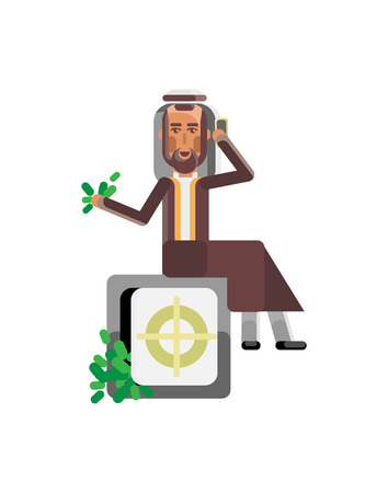Arabic businessman with smartphone sitting on bank safe full of money. Illustration