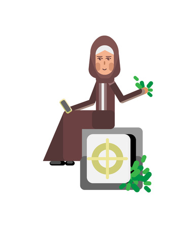 Arabic woman with smartphone sitting on bank safe full of money. Illustration