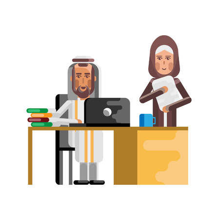 Arabic businessman working at laptop and secretary with documents near here. Corporate business people isolated vector illustration. Stock Illustratie