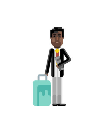 Black businessman with travel bag and ticket in hands. Corporate business people isolated vector illustration.
