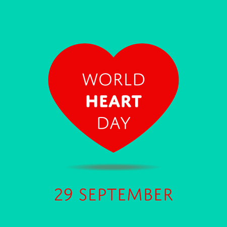 September 29 - World heart day banner. International campaign to spread awareness about heart disease and stroke prevention. Global people healthcare and medical treatment event vector illustration.