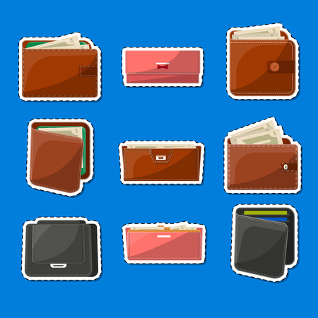 Various leather purses labels set. Wallets and clutches for men and women with banknotes and credit cards. Business and banking, money success and financial safety isolated vector illustrations. Ilustrace