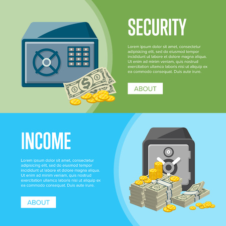 Metallic safe box with big pile of paper banknotes and golden coins near. Money storage, banking and financial income, cash security posters. Bank deposit box with safety cash vector illustration.