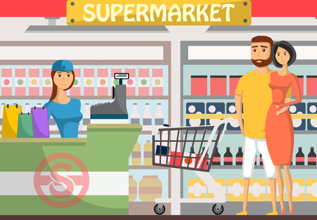 Young couple shopping at supermarket banner. Retail cashier in uniform with cash register and buyers, shop interior with shelves full of products and drinks, daily grocery purchase vector illustration Illustration