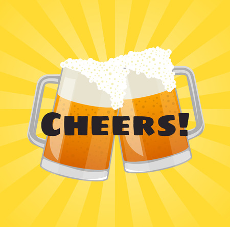 Cheers beer poster with beer mugs