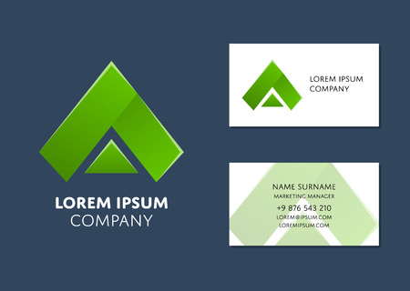 Creative business card template with green triangle icon name creative business card template with green triangle icon name work position phone fbccfo Choice Image