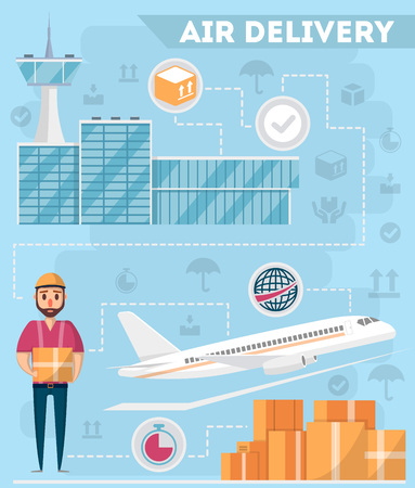 Airport logistics and delivery management poster. Commercial worldwide shipping, freight transportation, global air postal. Cargo plane, airline terminal and warehouse worker vector illustration