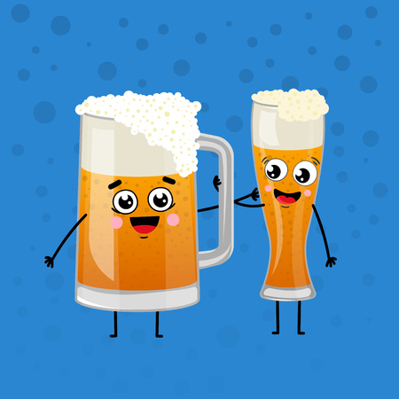 Happy beer mugs animation characters in cartoon style. Glass pint tankards of frothy beer vector illustration. Brewery advertising, beer glass with foam symbol for restaurant or pub menu design.