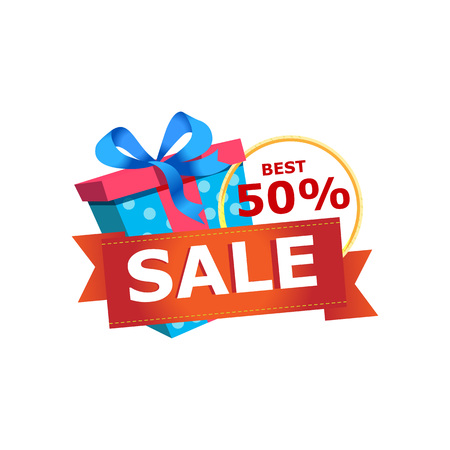 Discount sales proposition sticker isolated on white background. Retail marketing, new advertising campaign, holiday shopping vector illustration.