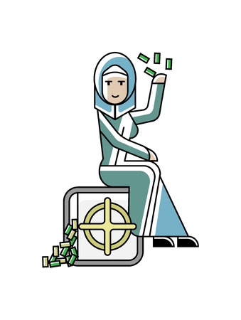 Arabic businesswoman sitting on bank safe full of money. Corporate business people isolated vector illustration in linear style.