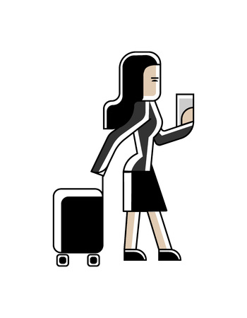 Asian businesswoman with travel bag and ticket in hands. Corporate business people isolated vector illustration in linear style.