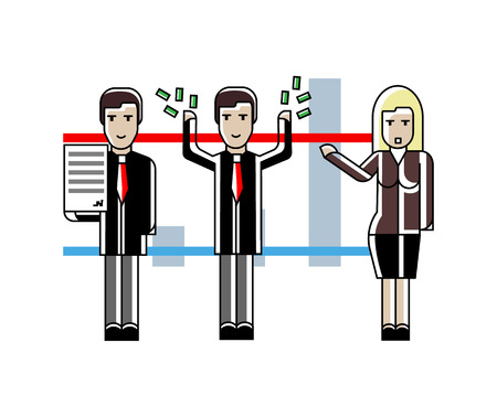 European business team presenting your project near whiteboard with financial diagram. Corporate business people isolated vector illustration in linear style.