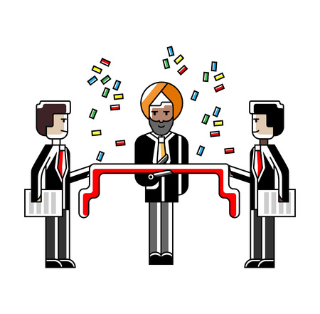 Indian businessman awarding ceremony with red ribbon and confetti. Corporate business people isolated vector illustration in linear style.