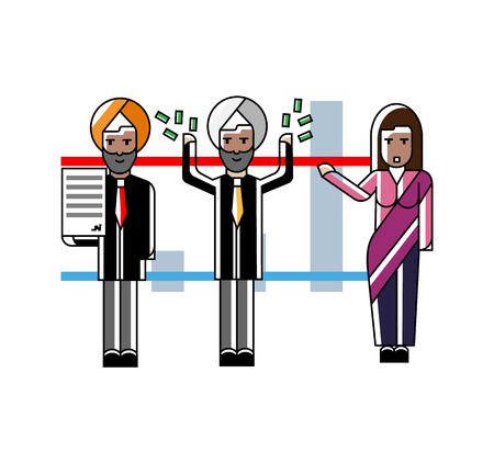 Indian business team presenting your project near whiteboard with financial diagram. Corporate business people isolated vector illustration in linear style.