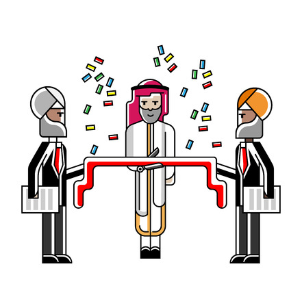 Businessman awarding ceremony with red ribbon and confetti. Corporate business people isolated vector illustration in linear style.