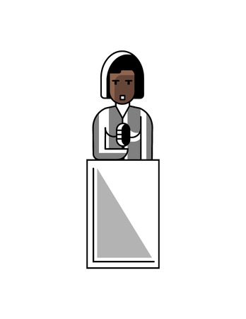 African businesswoman speech on tribune. Corporate business people isolated vector illustration in linear style. Vettoriali