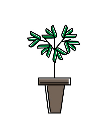 Green office plant in pot isolated icon. Nature symbol, houseplant object, floral interior decoration design element vector illustration in linear style.