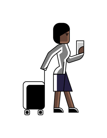 African businesswoman with travel bag and ticket in hands. Corporate business people isolated vector illustration in linear style. Illustration