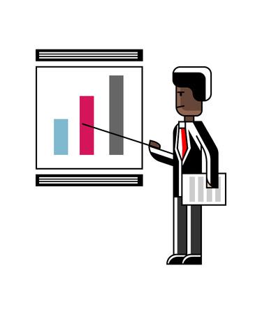 Haut-parleur africain faisant la présentation de l'entreprise avec schéma financier sur tableau blanc. Gens d'affaires d'entreprise isolé illustration vectorielle dans un style linéaire. Banque d'images - 95454088