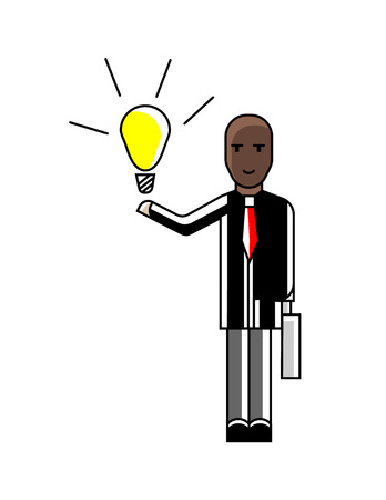 African businessman with suitcase holding idea light bulb. Corporate business people isolated vector illustration in linear style.