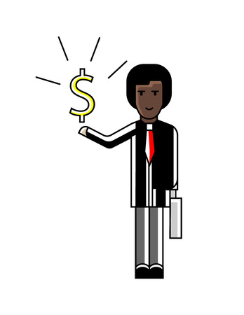 African businessman with dollar sign in hand. Corporate business people isolated vector illustration in linear style.