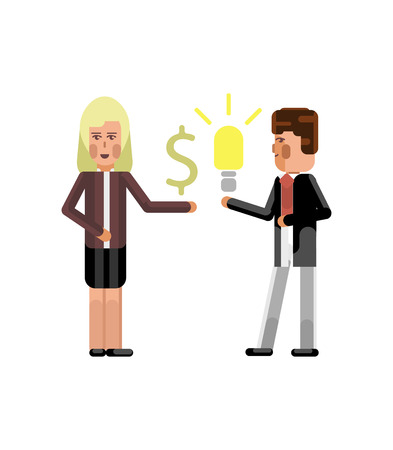Businessman holding idea light bulb and blonde businesswoman with dollar sign in hand isolated vector illustration.