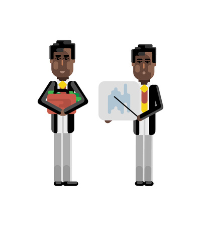 African businessman showing financial diagram and investor holding money suitcase isolated vector illustration. Illustration