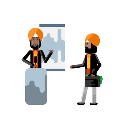 Indian sikh speaker on tribune doing business presentation and investor in turbine holding money suitcase isolated vector illustration.