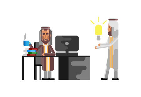 Business meeting arabic manager with businessman holding idea light bulb. Corporate business people isolated vector illustration. Stock Illustratie