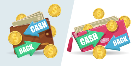 Cash back isolated stickers set. Man leather wallet and woman clutch with money banknotes and golden coins. Money save concept, retail advertising, financial service and banking vector illustration.