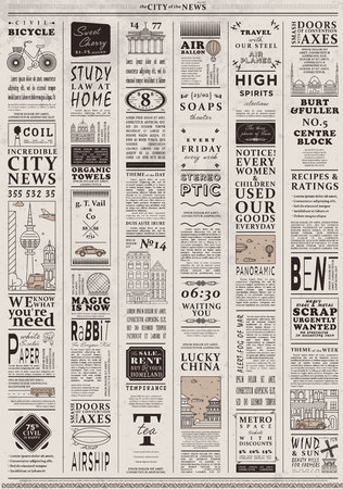 Design of old vintage newspaper template showing articles with headlines. Ilustração