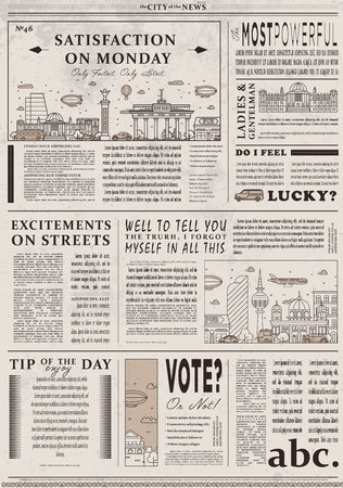 Design of old vintage newspaper template Stock Photo