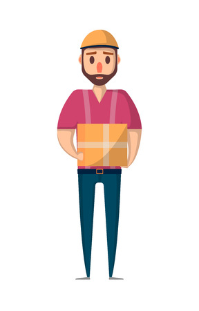 Delivery man with box icon in flat style