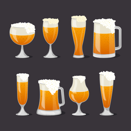 Beer mugs with foam set in cartoon style Foto de archivo