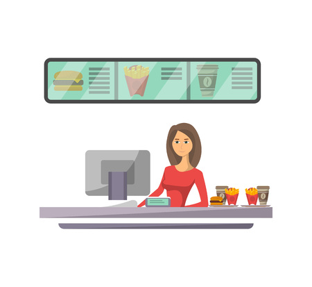 Shop counter with cashier icon in flat style