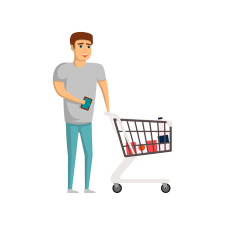 Young man with supermarket trolley cart