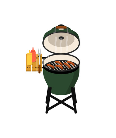 Charcoal barbecue grill with grilled sausages Stock Photo