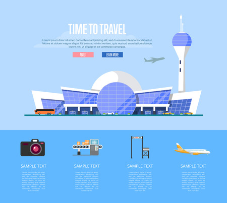 Time to travel banner with airport terminal