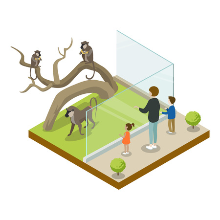 Cage with monkeys isometric 3D icon Stock Photo