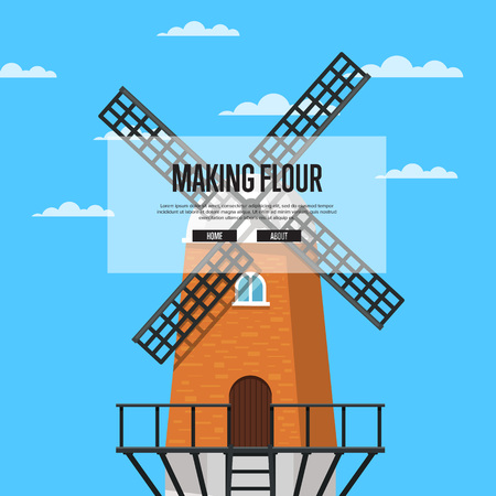 Making flour poster with stony old windmill