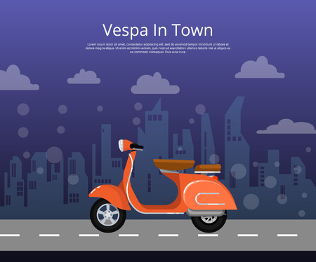 Vespa in town poster in flat style