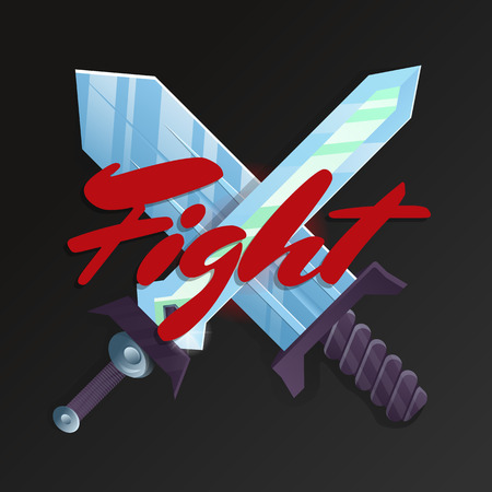 Fight game element with crossed swords